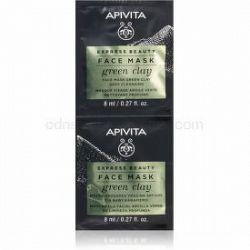Apivita Express Beauty Green Clay čistiaca a vyhladzujúca pleťová maska so zeleným ílom 2 x 8 ml